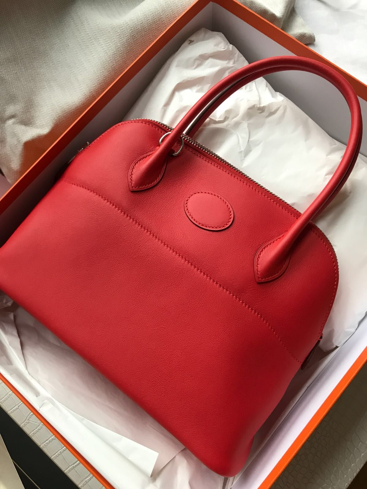 a3ec1df9781a Available Hermes Bolide 27 In Rouge Tomate Model  Hermes Bolide 27  Condition  New Stamp