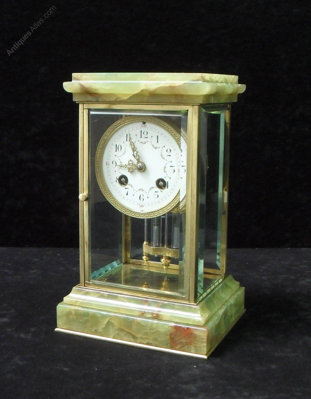 Antiques Atlas French Onyx And Brass Four Glass Mantel Clock Antique Mantel Clocks Antique Mantel Antique Pendulum Wall Clock