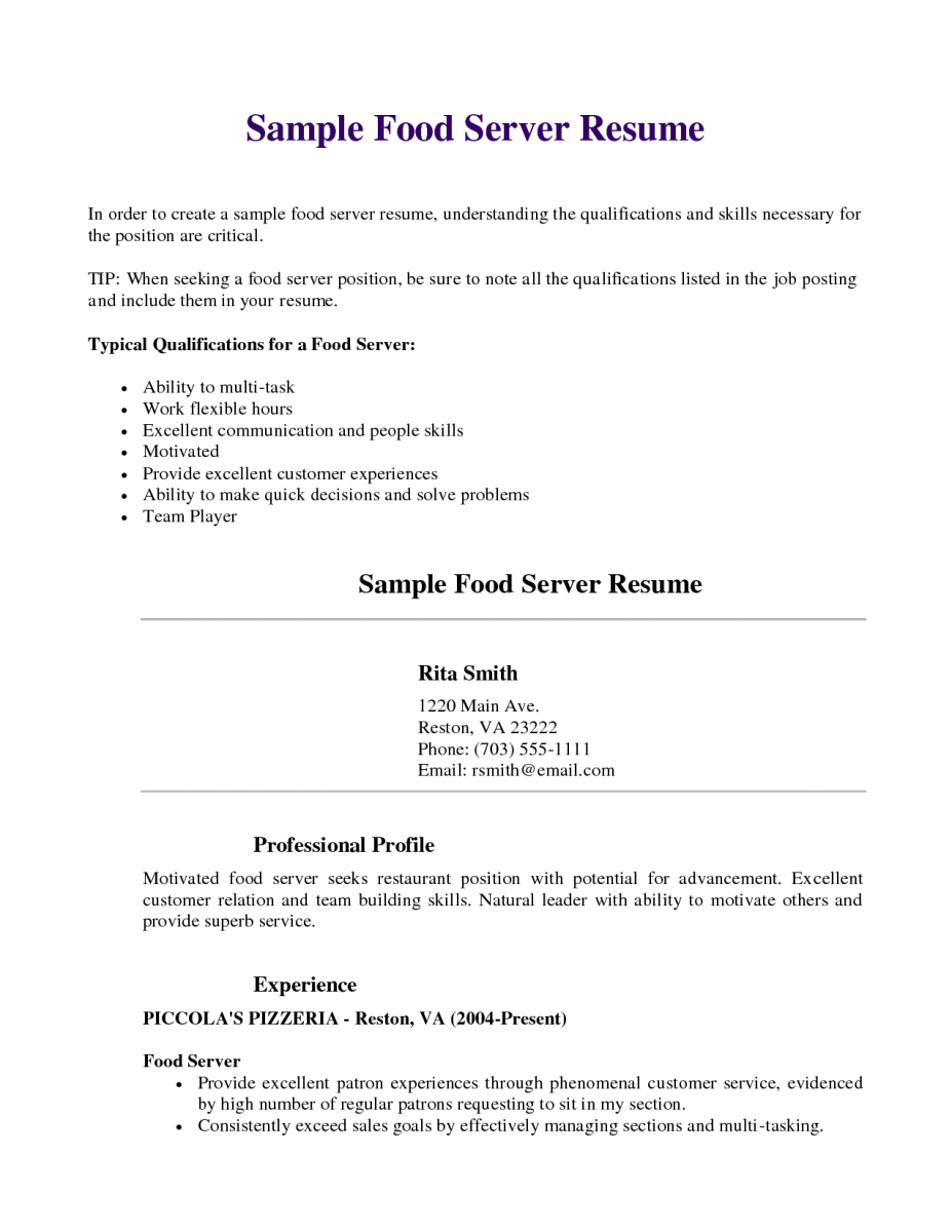 Server Resume Template Resume Sample Restaurant Cook Fast Food Examples Cover Letter