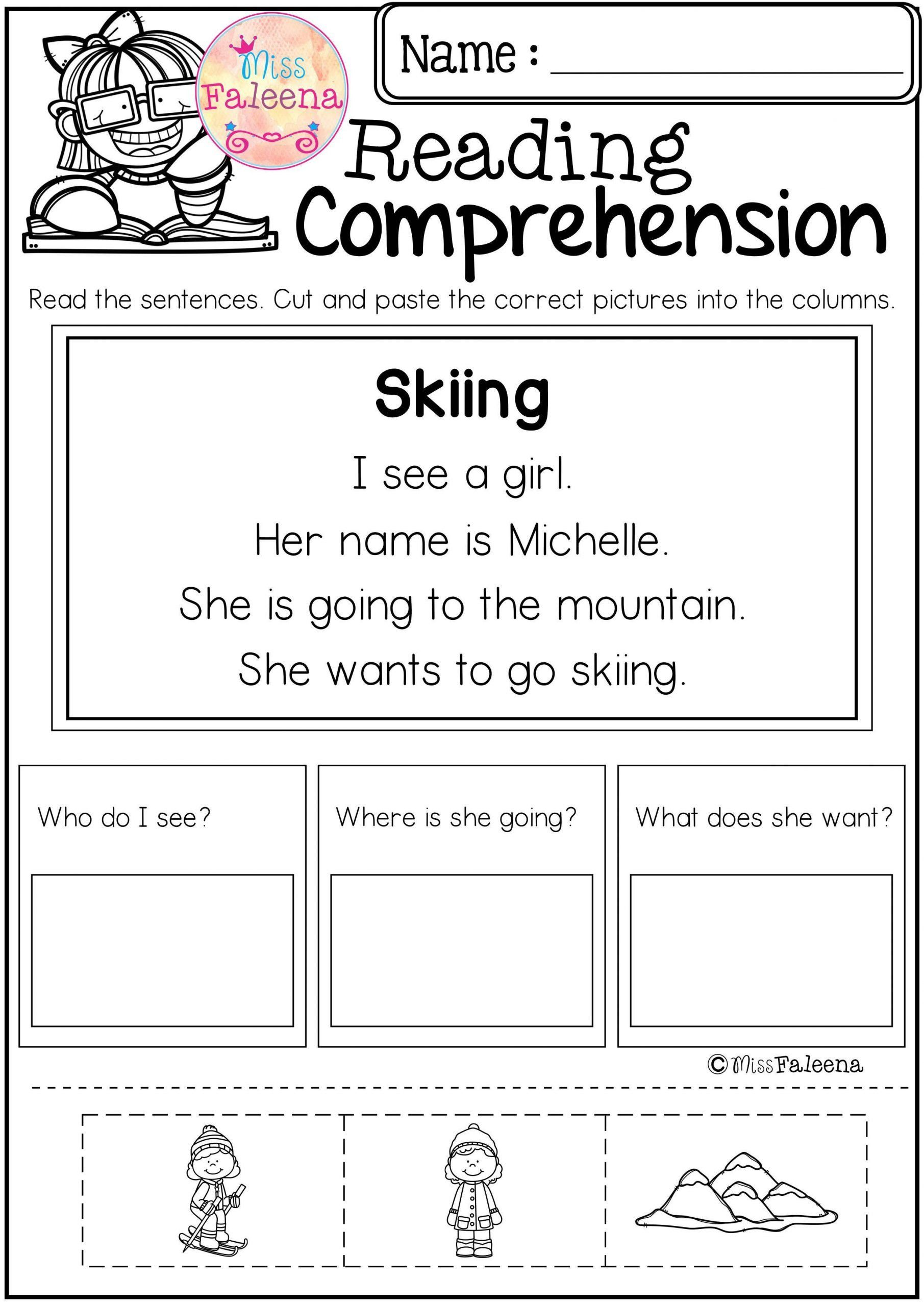 Comprehension Worksheets For Kindergarten Kindergarten Re