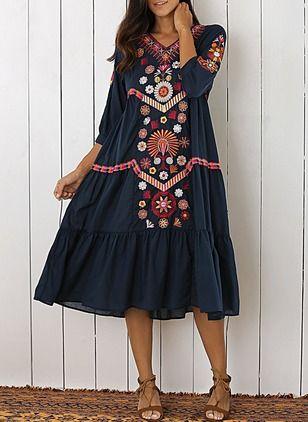 Повседневное платье из хлопока длины миди с цветочным принтом с рукавами 1030761/1030761 (1030761) @ floryday.com