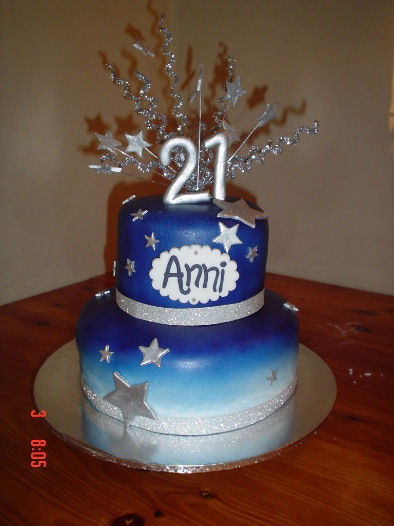 Blue And Silver 21st Cake 21st Birthday Cakes 21st