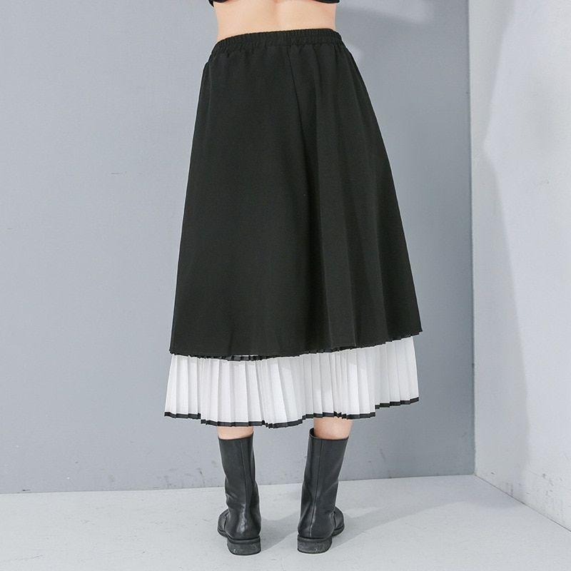High Elastic Waist Women Long Tiered Skirt Mesh Spliced Contrast Color Half-body Skirts Pleated Fashion Tide 2020 Spring Summ