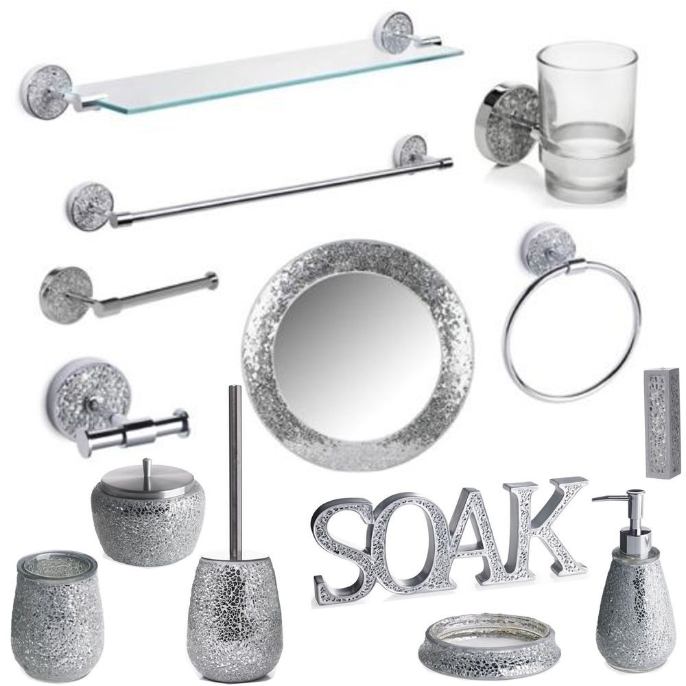 Details About Silver Mosaic Bathroom Accessories Set Silver