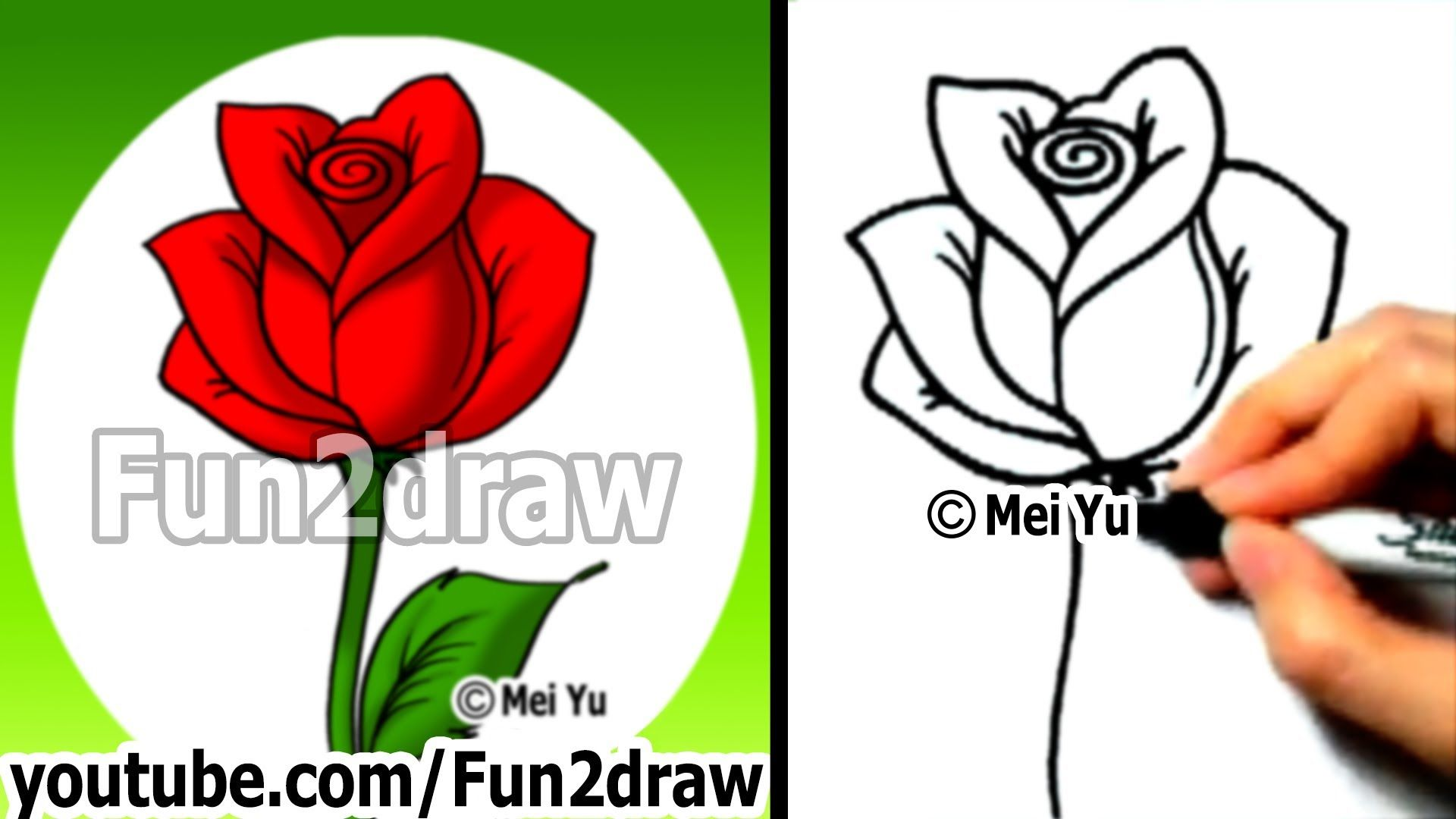 How To Draw An Easy Rose Drawing Lessons Learn To Draw Fun2draw Flower Drawing Roses Drawing Easy Flower Drawings