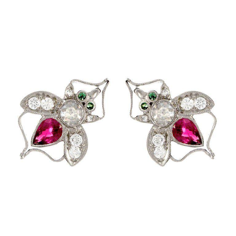 5b4098866 18 Karat White Gold Antique Ruby Bee Stud Earrings White Gold Diamond  Earrings, Diamond Art