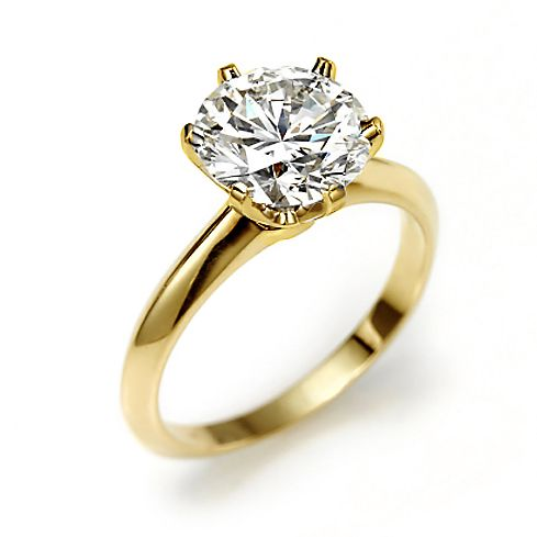 Gold Vermeil Round Cut Solitaire CZ Diamond Engagement Ring 3.5ct