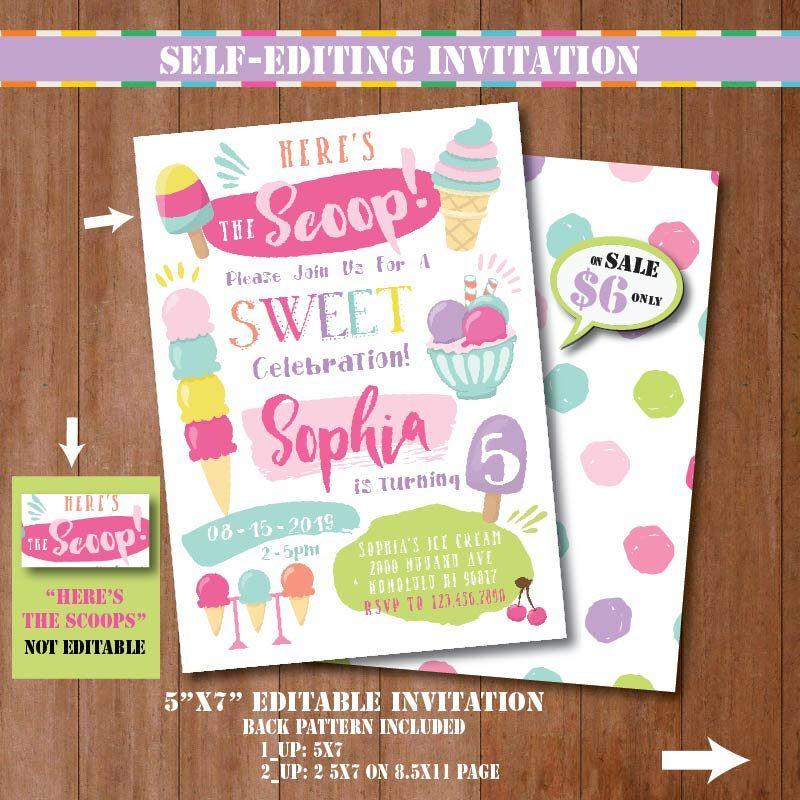 Self-Editing Ice Cream Birthday Invitation-Printable Ice Cream ...