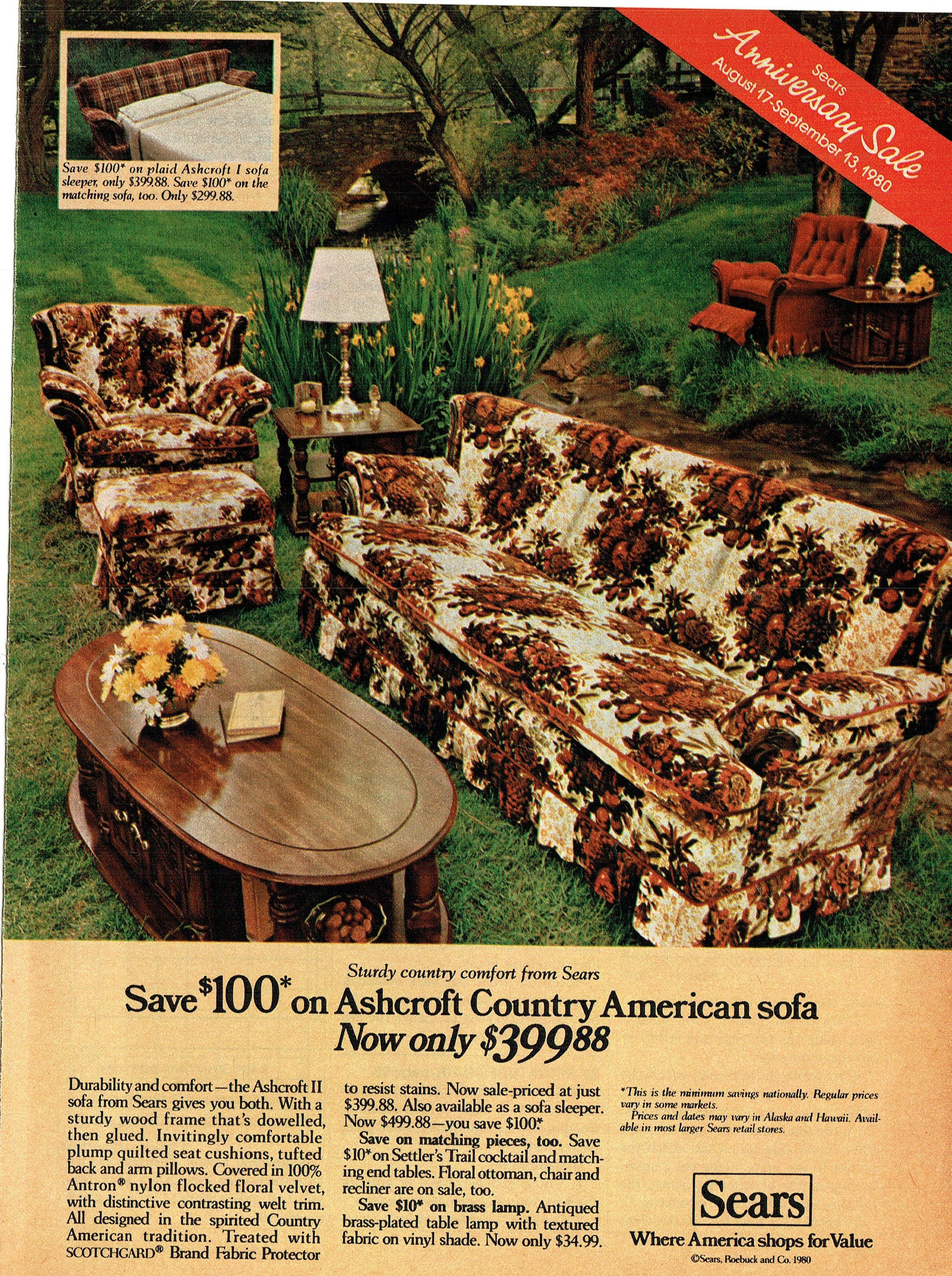 1980 Advertisement For Ashcroft Country American Sofa By Sears Etsy American Sofa Ashcroft Vintage House