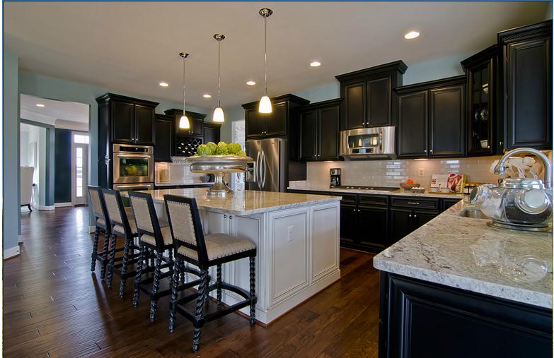 Espresso Cabinets White Island Modern Kitchen Countertops