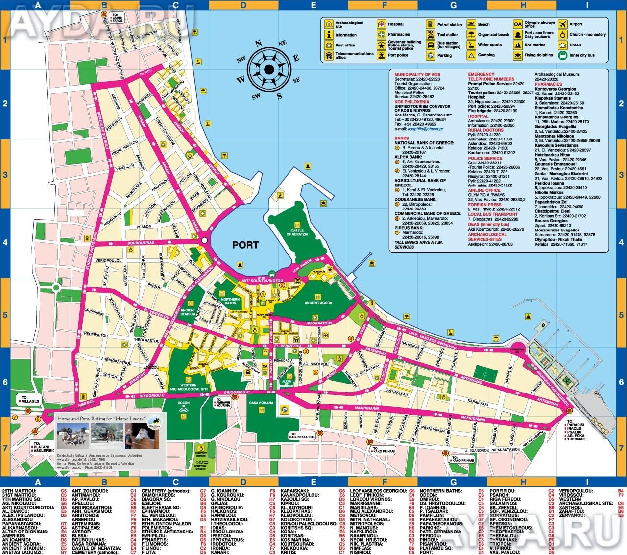Карта города Кос | Kos | Pinterest | Greece, Kos and Greece kos