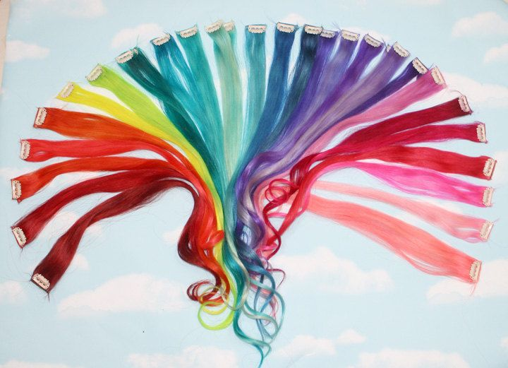 Rainbow human hair extensions colored hair extension clip hair rainbow human hair extensions colored hair extension clip hair wefts clip in hair pmusecretfo Images