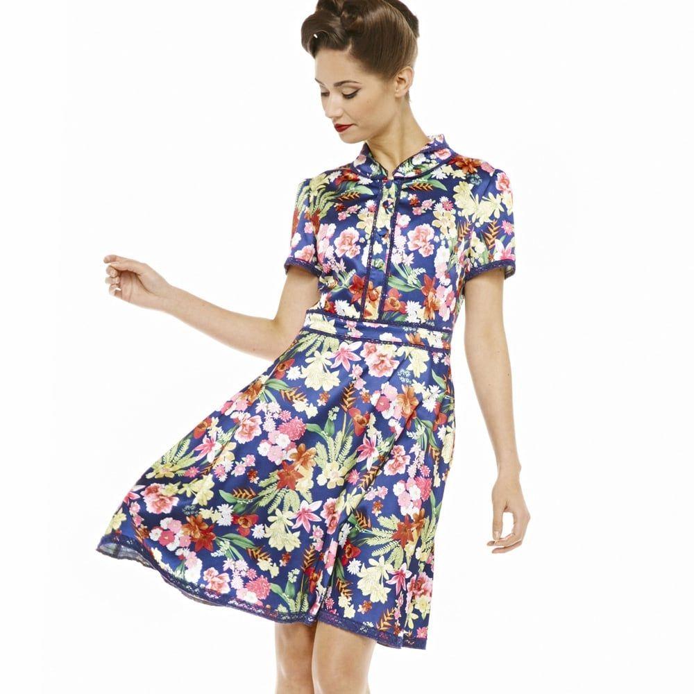 Caru\' Navy and Pink Floral Tea Dress | Pinterest