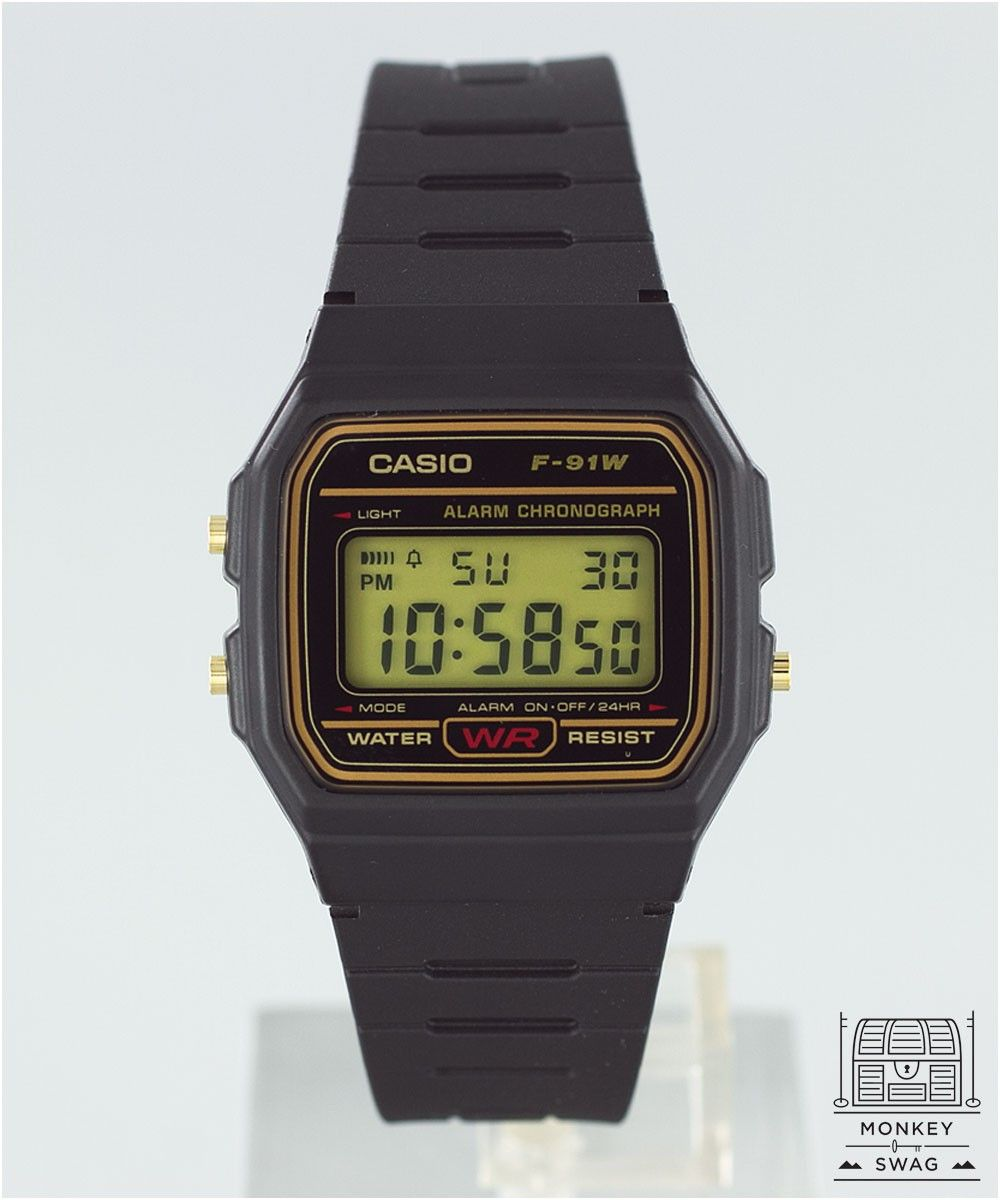 27ff9a7490e2 CASIO Watch F91 Original Gold trim Retro Watches