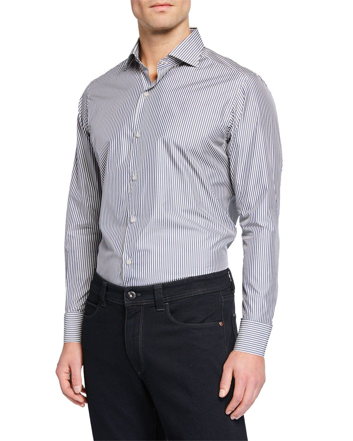 8be65541c LORO PIANA MEN'S NEW ALAIN STRIPED FLAX-BLEND SPORT SHIRT. #loropiana #cloth