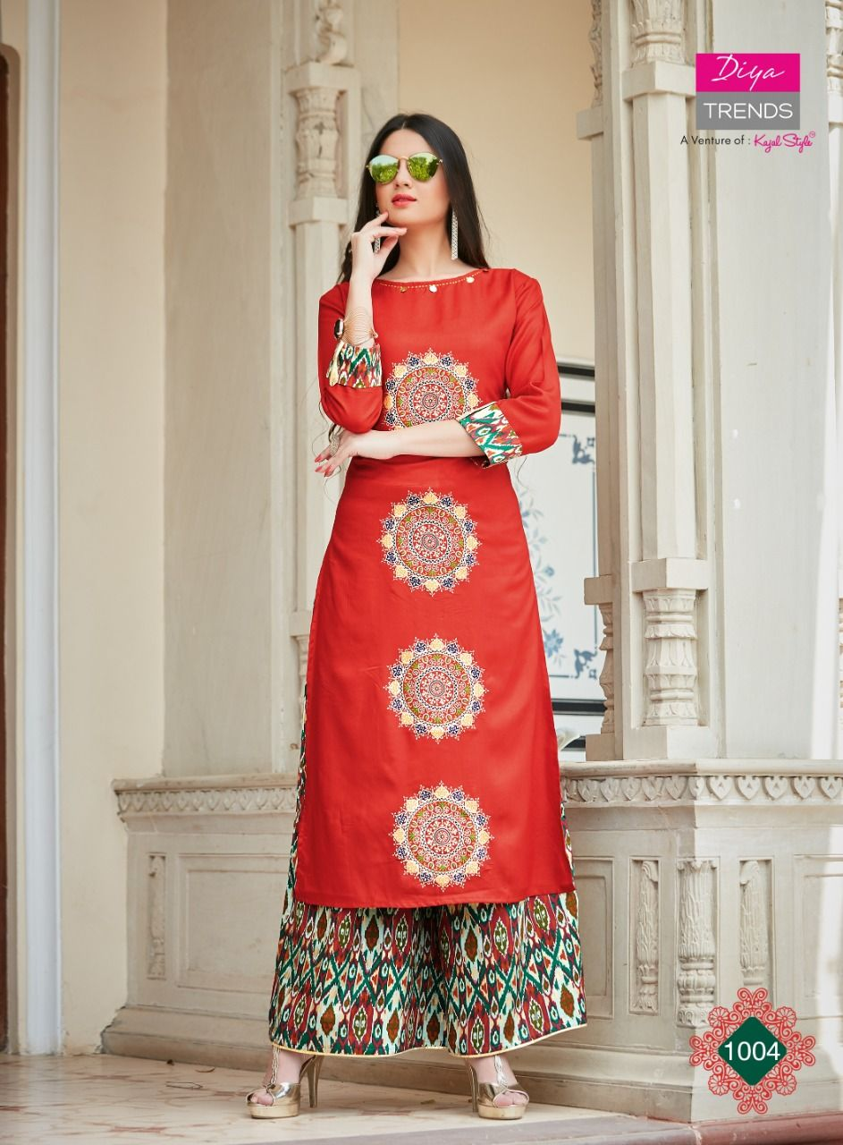 9c448313848 KURTI WITH PLAZZO AT AFFORDABLE PRICE DIYA TRENDS A Venture of KAJAL STYLE  Catalogue name