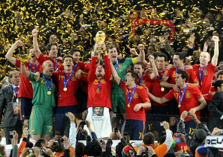 2010 World Cup winners Spain. Their 1st World Cup