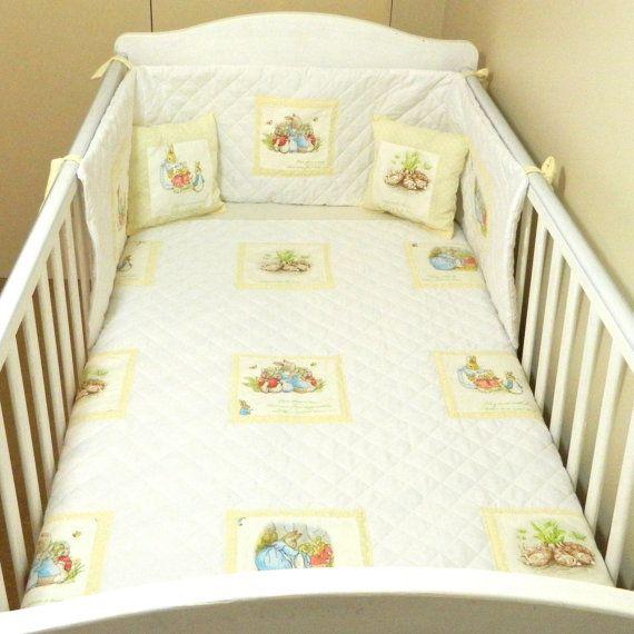 Cream White Dotty Beatrix Potter Baby Bedding Neutral Peter