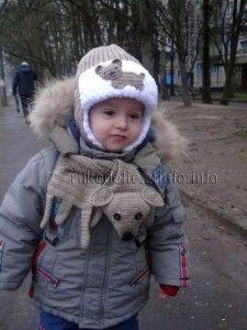 Шапочка-и-шарфик-Песик   Шапочка, Вязание, Мальчики