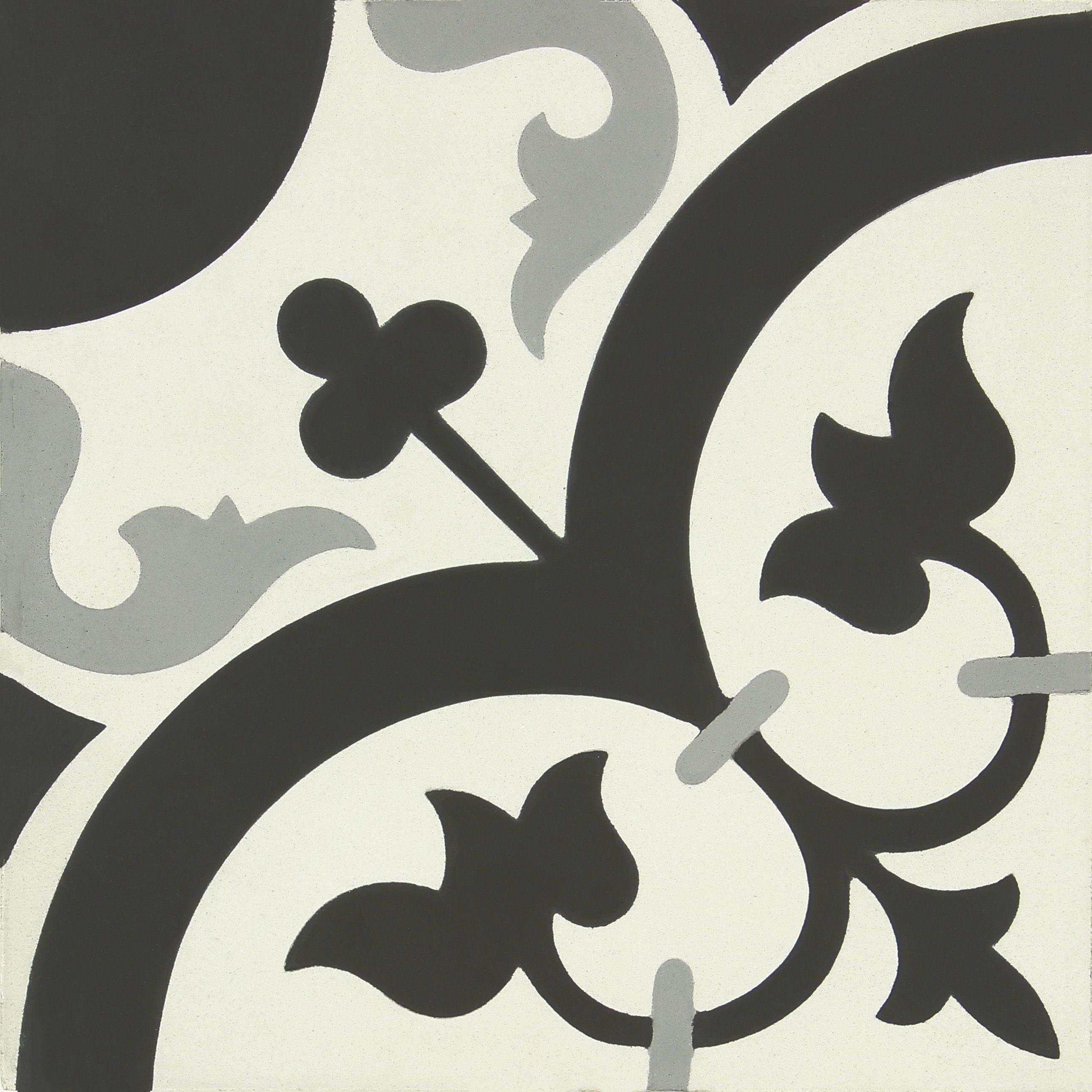 Carreau de ciment Belle époque décor suzon gris, noir et blanc, l ...
