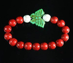 Turquoise Green Butterfly Red White Veins Ball Beads Stretch Bracelet ZZ2456 by igminuscn.storenvy.com, $4.85