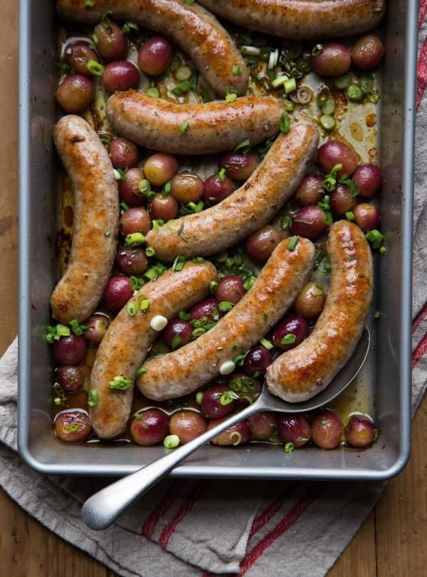 Sausages with Roasted Grapes #porksausages