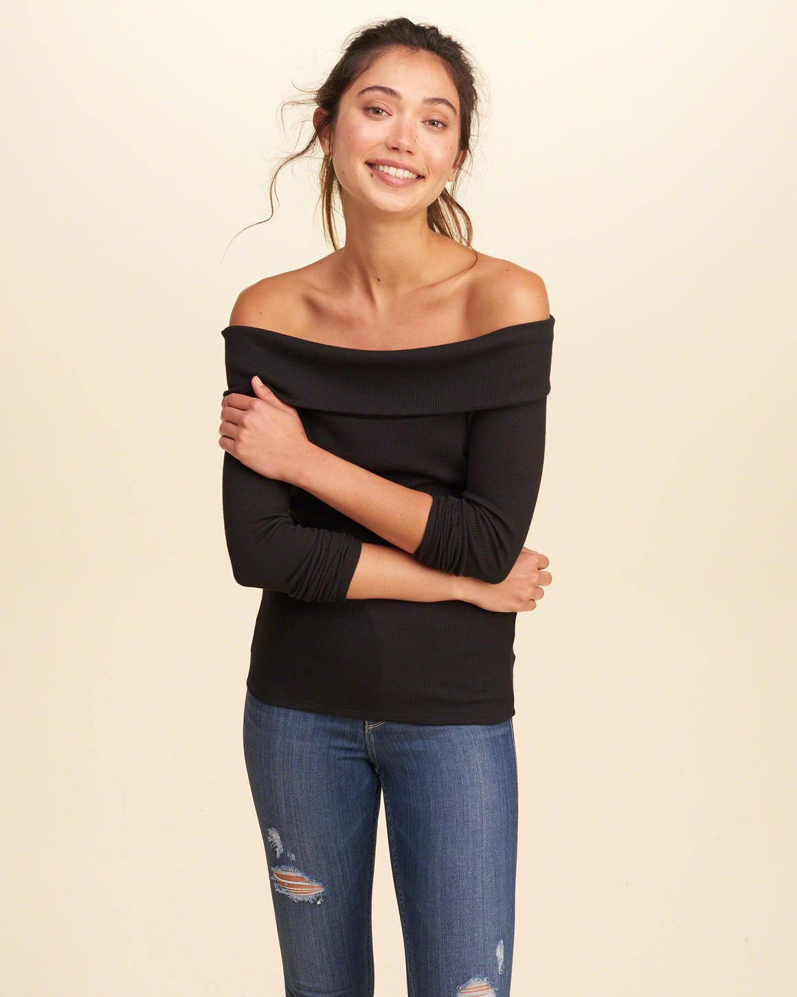 ab4739a35a372 Hollister Must-Have Off-The-Shoulder Waffle Top Size Small Black ...