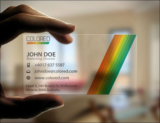 Transparent colored business card amazing designs pinterest transparent colored business card reheart Images
