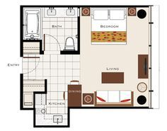 400 sq ft apartment floor plan - Google Search | 400 sq ft floorplan ...