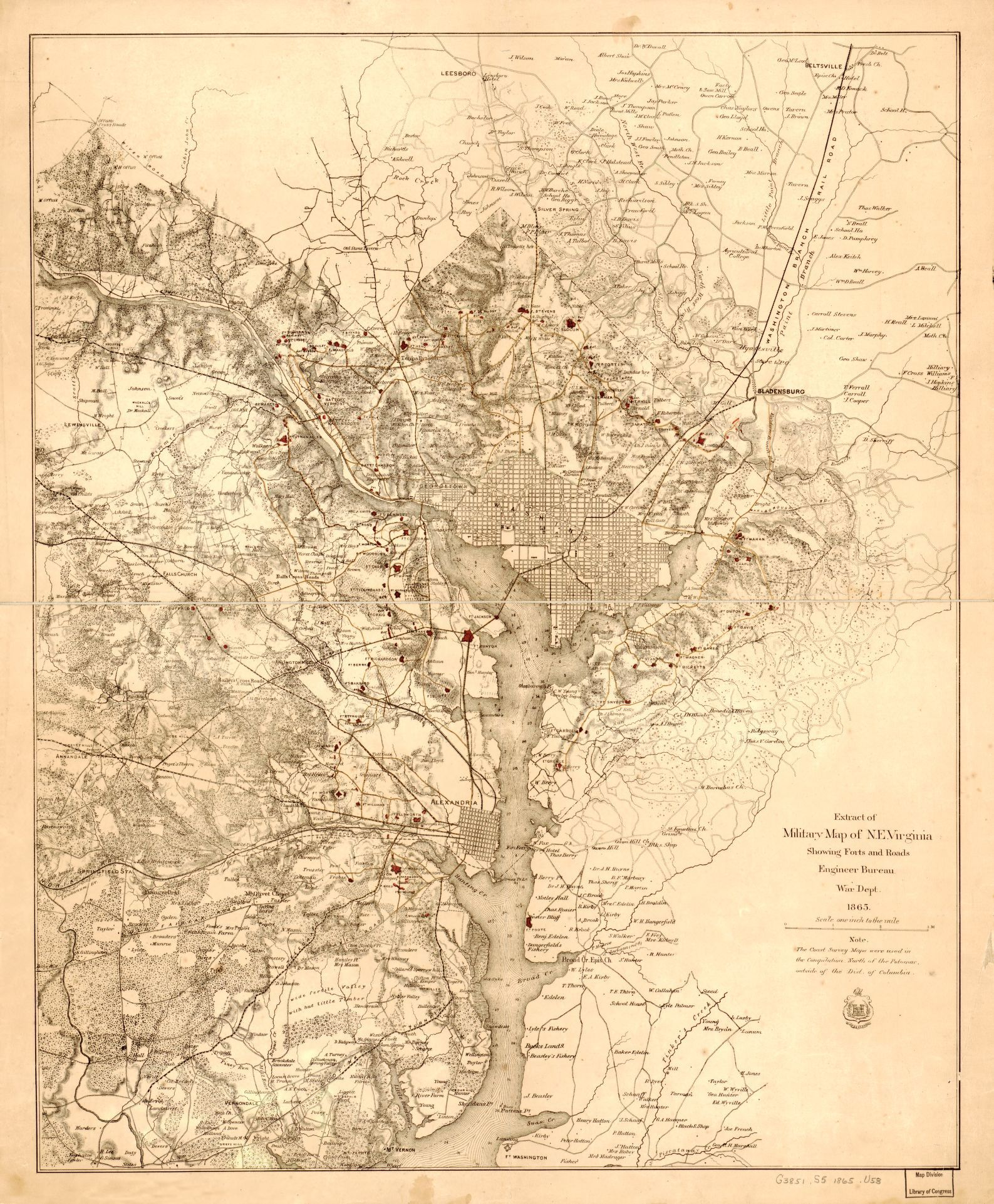 Extract of military map of NE Virginia showing forts and roads