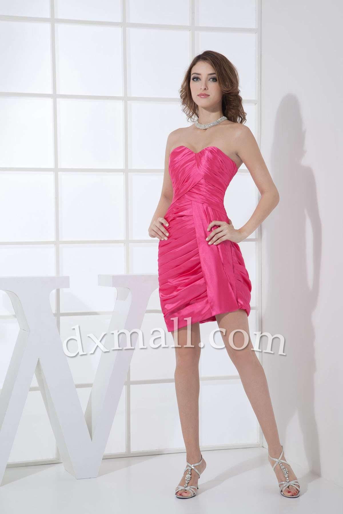 Sheath/Column Party Dresses Sweetheart Short/Mini Taffeta Pink ...