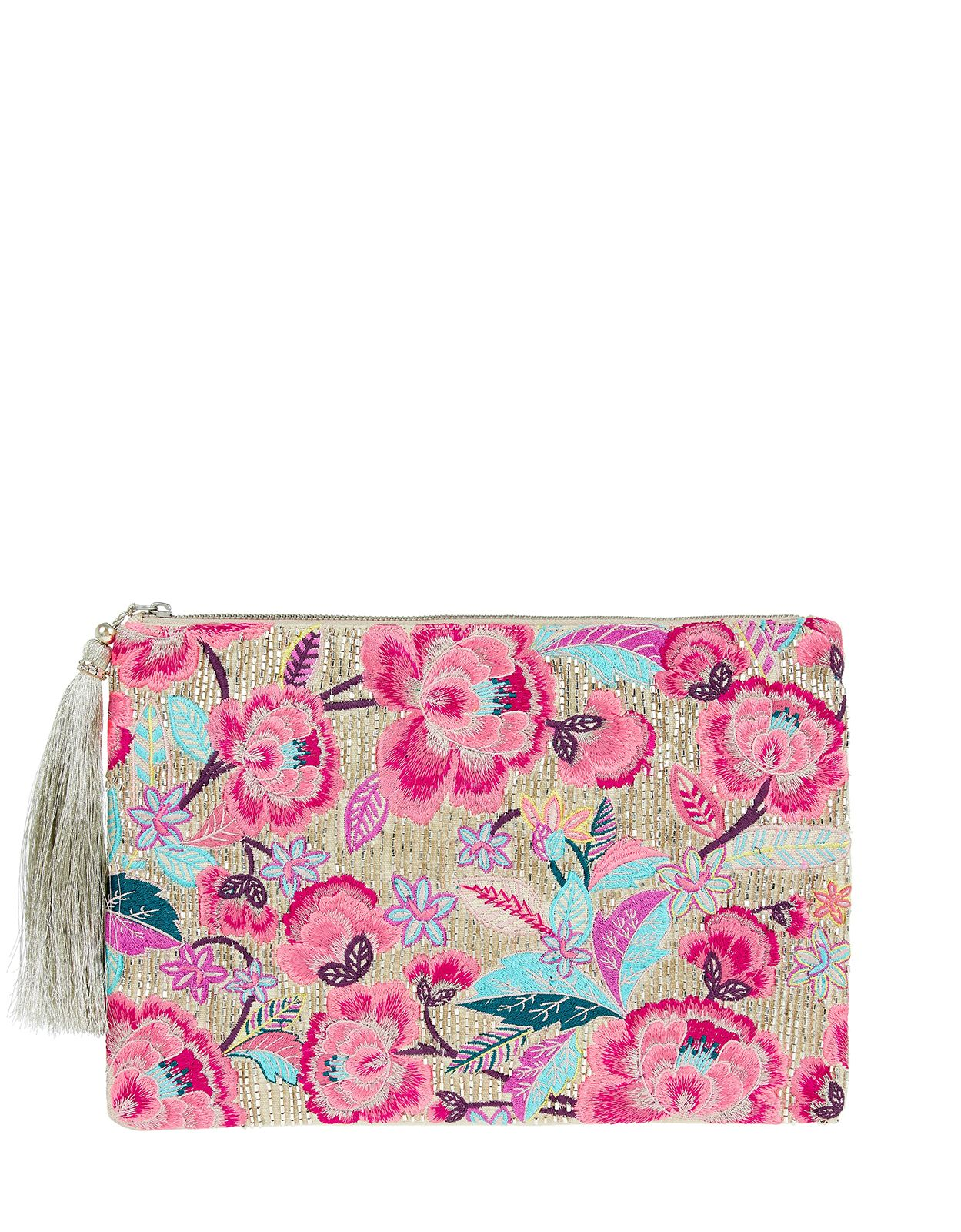 a6044d19f Accessorize | Sophie Oversized Floral Ziptop Clutch Bag | Multi | One Size  | 4909149900