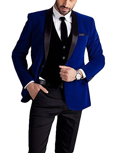 48 Regular, Royal Blue with Black Shawl Lapel with Black Pants King Formal Wear Modern Luxury Prom Suits