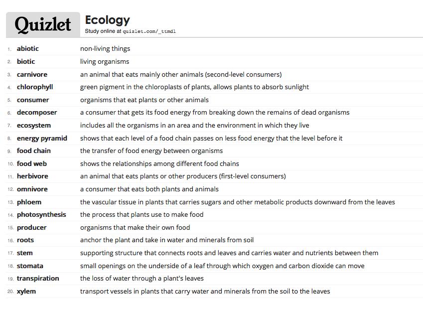 """Quizlet vocabulary for """"Ecology"""". Students may log into"""
