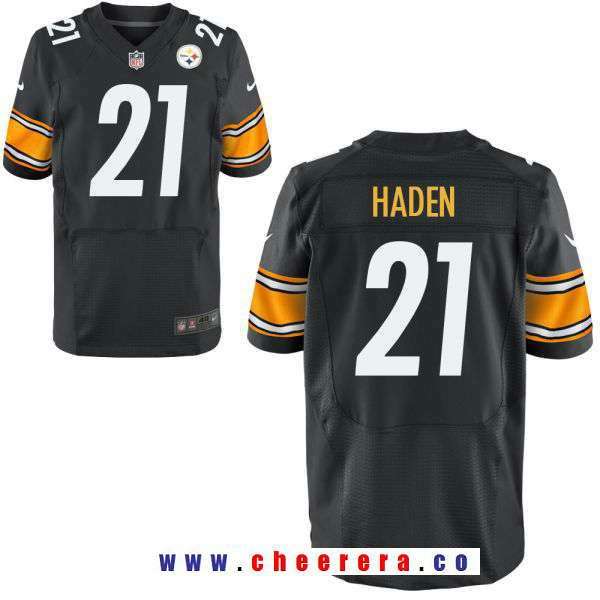buy online d50ed 4f0ff Men's Pittsburgh Steelers #21 Joe Haden Black Team Color ...