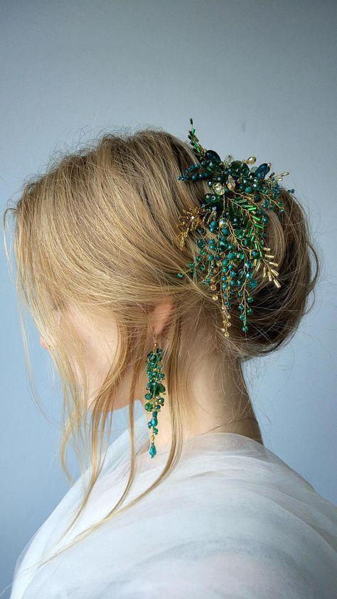 Vid de pelo de novia, Peinado de novia, Peine de pelo de novia, Pinza de pelo de novia, Accesorios para el cabello, Acné de hierba …