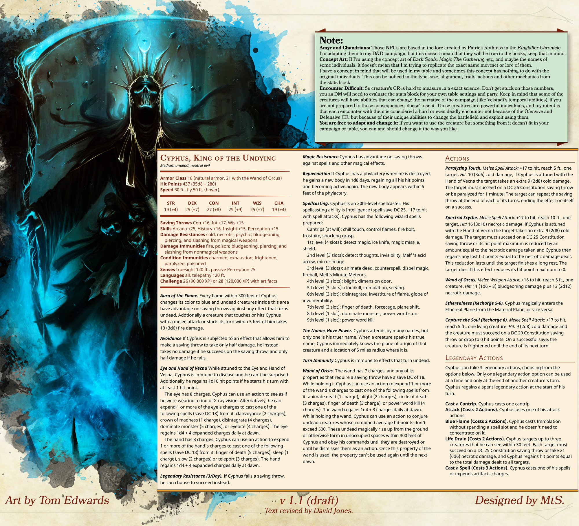 5e][Creature] Cyphus, King of the Undying | DND Things | Dnd 5e