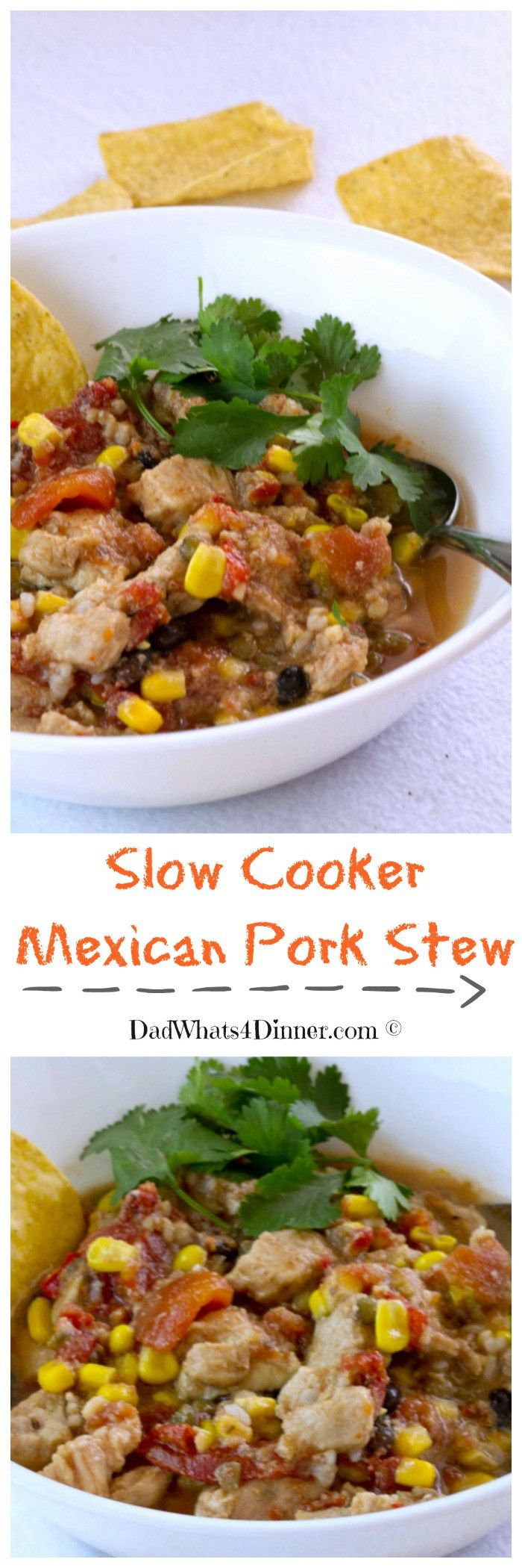 My easy Slow Cooker Mexican Pork Stew is an awesome weeknight meal. Loaded with protein and veggies.