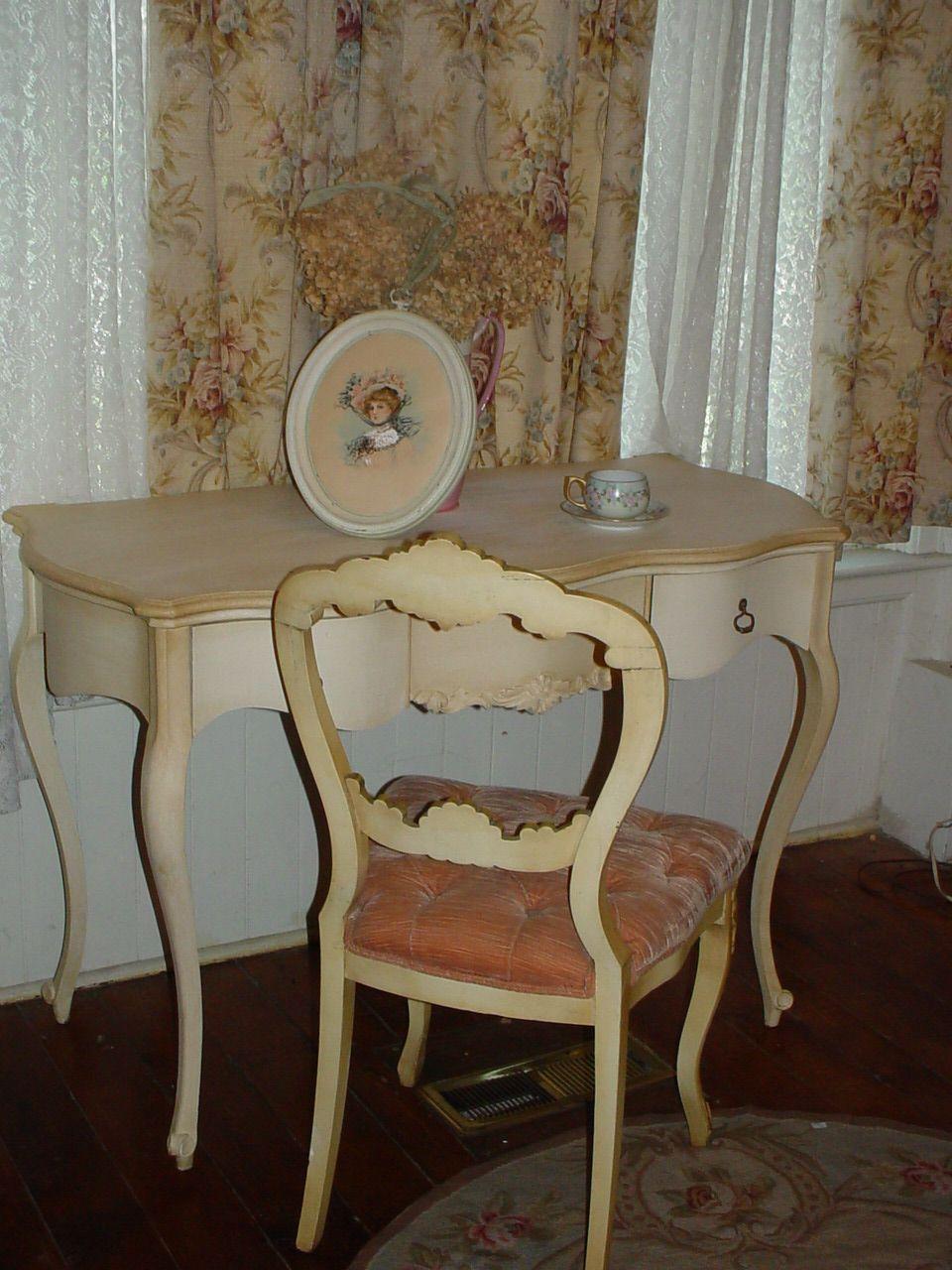 antique cherry ladies desk and vict velvet chair repainted
