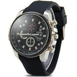 Valia 8258-2 Male Quartz Watch Day Decorative Non-functioning Sub-dials Rubber Watchband