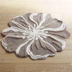 flower-shaped 3' round gray bath rug | floral rug, bath