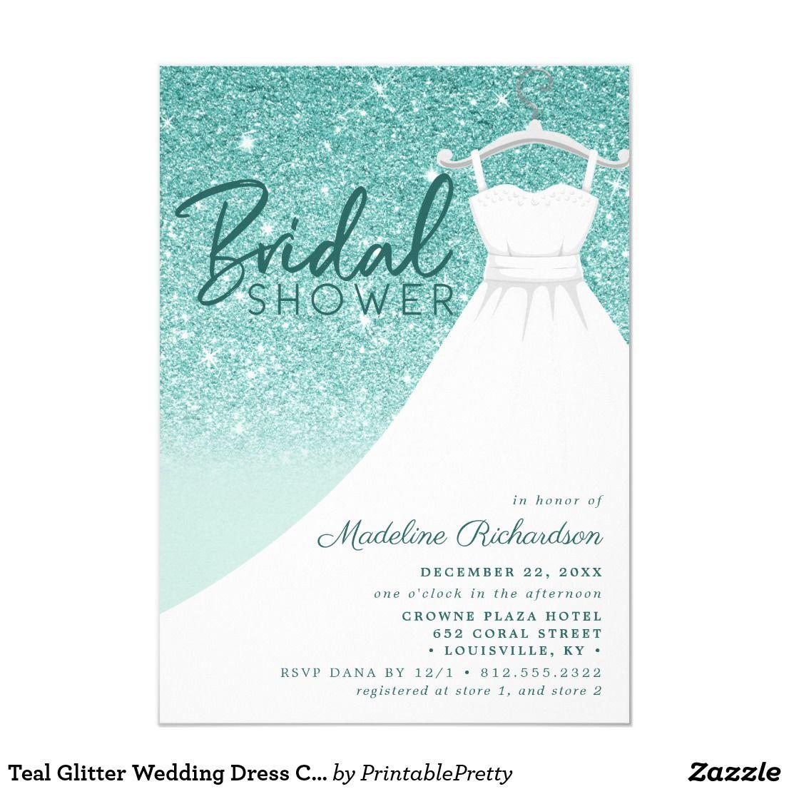 Teal Glitter Wedding Dress Chic Bridal Shower Invitation Zazzle Com Glitter Wedding Bridal Shower Invitations Chic Bridal Showers