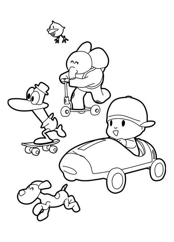 Picture Of Pocoyo And Friends Coloring Page Color Luna Coloring Pages For Kids Pocoyo Coloring Pages