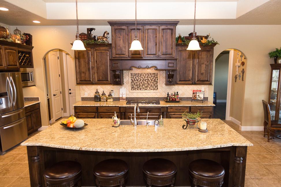 Nice Ornamental Granite Countertops   Kitchen   Large Island   Dark Cabinets   Light  Granite   San