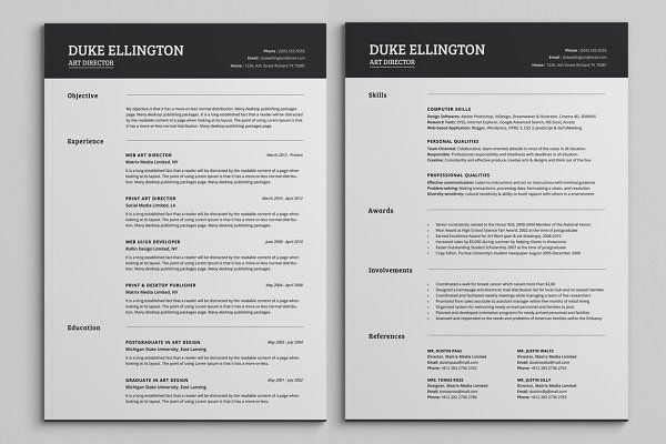 Two Pages Classic Resume Cv Template Unique Resume Template Resume Template Word Downloadable Resume Template