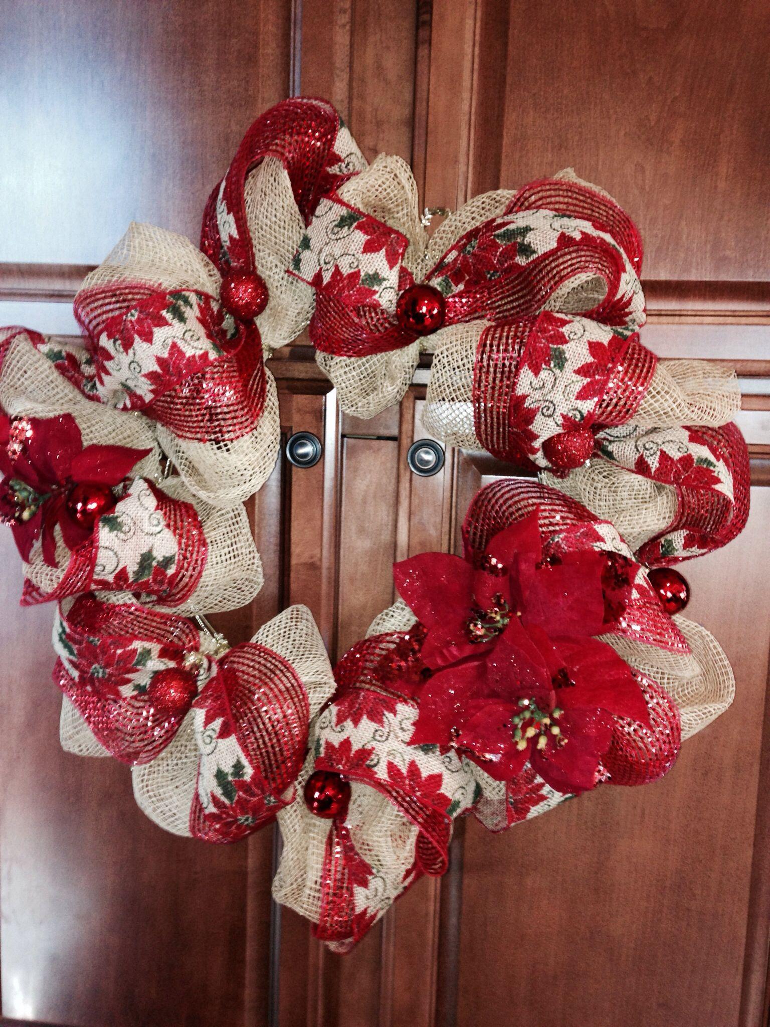 Burlap and red ribbon DIY deco mesh wreath Deco wreaths