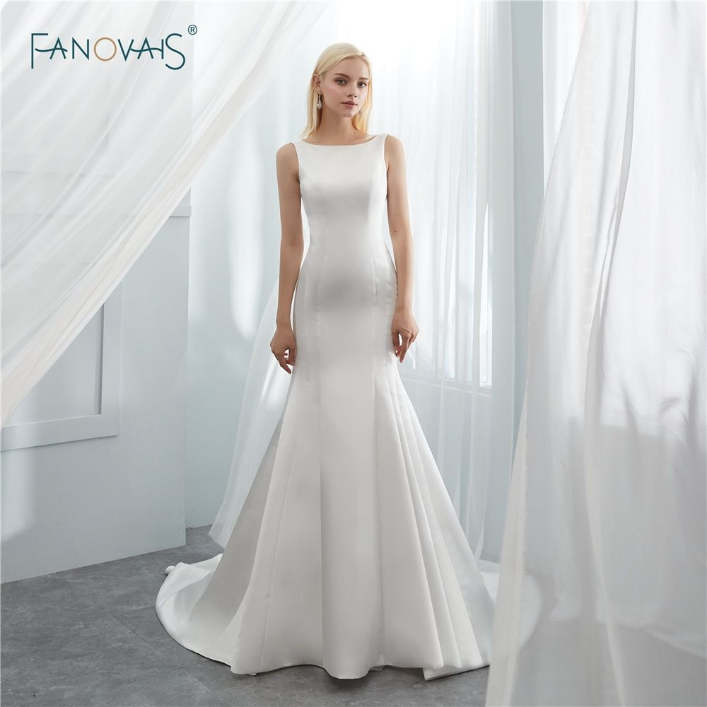 Simple Wedding Dresses 2018 Boat Neck Ivory White Elegant Mermaid Wedding Gown Open Back Vetsid Simple Wedding Gowns Elegant Bridal Gown Wedding Dresses Simple [ 1000 x 1000 Pixel ]