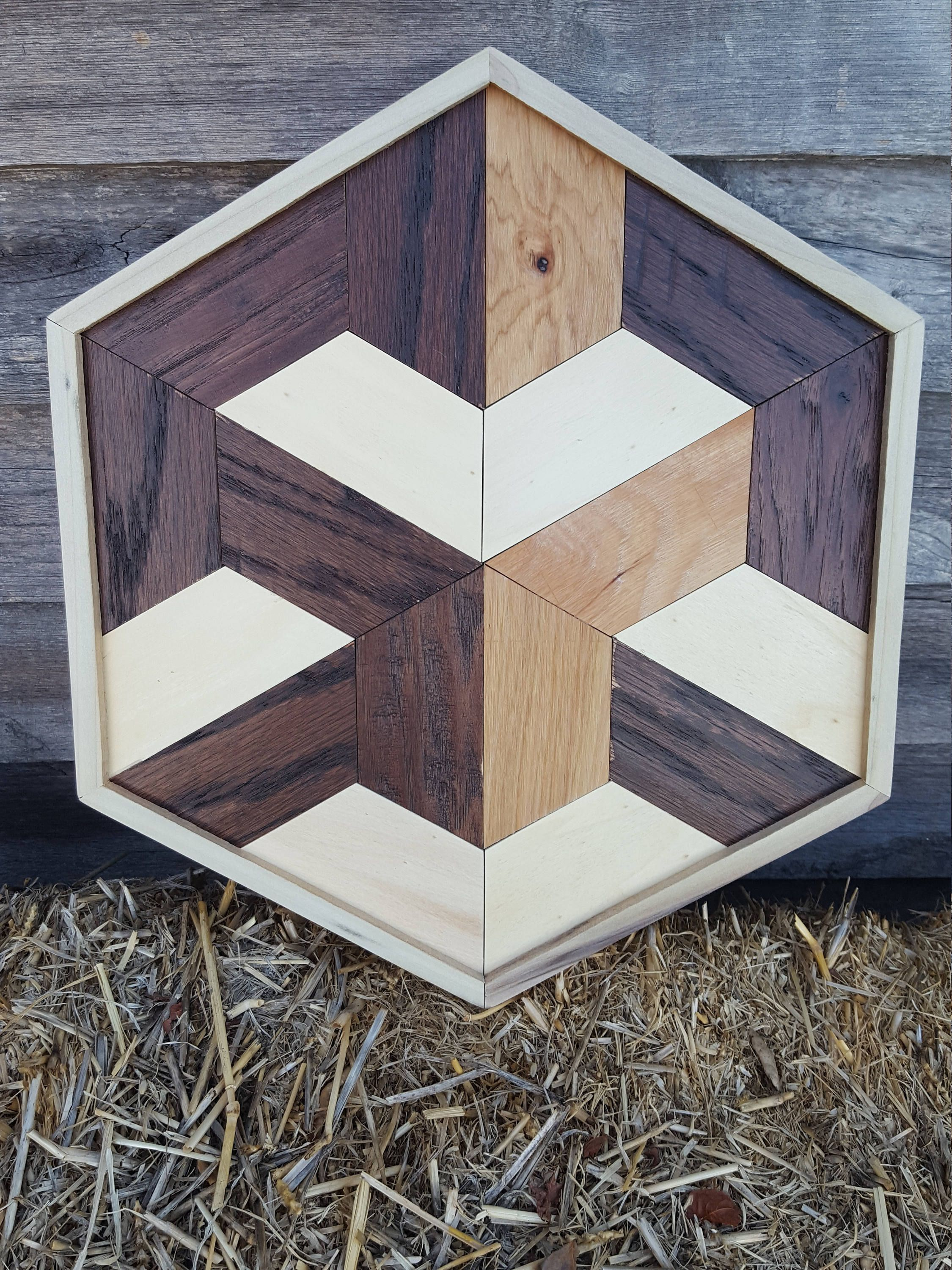 illusion geometric wood optical wall reclaimed rustic wooden shape projects pallet sold etsy repurposed furniture 3d woodworking table diy designs