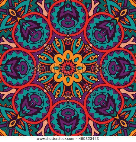 Abstract ethnic seamless mandala flower pattern ornamental. abstract pattern