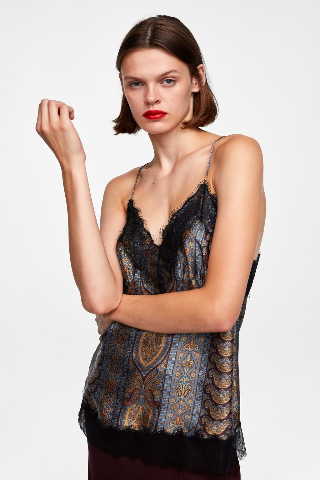 d85b72059 Image 2 of PRINTED LACE TOP from Zara | +CAMI | Tops, Lace tops, Women